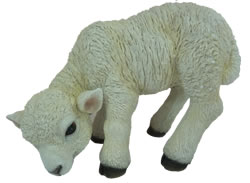 Image of Vivid Eating White Lamb Lifelike Resin Garden Ornament