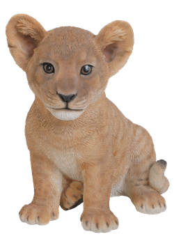 Image of Sitting Lion Cub - Resin Garden Ornament