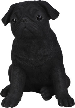Image of Black Pug - Resin Garden Ornament