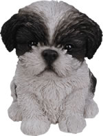 Small Image of Pet Pals Shih-Tzu Puppy in Black - Resin Garden Ornament - PP-SZBK-F