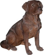 Small Image of Real Life Chocolate Labrador - Resin Garden Ornament