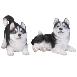 Image of Pair of Playful Huskies - Resin Garden Ornament