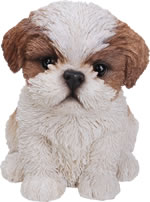 Small Image of Pet Pals Shih-Tzu Puppy in Brown - Resin Garden Ornament