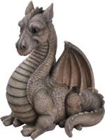 Small Image of Grey Winged Dragon - Resin Garden Ornament