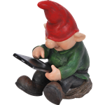 Small Image of Playful Gnome Son With Leafpad - Resin Garden Ornament
