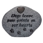 Small Image of Dogs Leave A Paw Print Memorial Plaque - Stone Effect