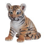 Small Image of Vivid Sitting Tiger Cub - Resin Garden Ornament