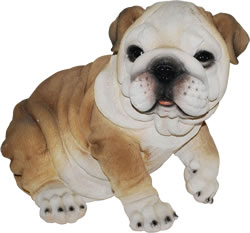 Image of Sitting Bulldog - Resin Garden Ornament
