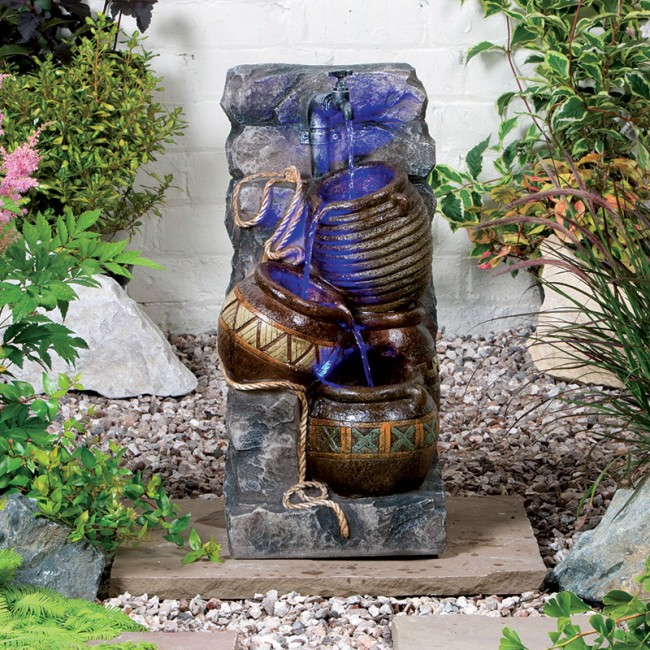 Simple Water Features For The Garden: Pouring Pot Wall Easy Fountain Garden Water Feature