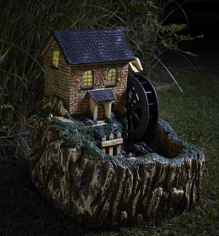 Solar Powered Water Mill Fountain With Light