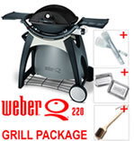 Weber Q220 Black Line with Permanent Cart & Grill Pack