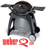 Weber Q220 Black Line with Permanent Cart