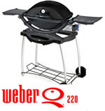 Weber Q220 Black Line with Stand and Rolling Cart