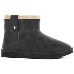 Small Image of Black Fox Cheyenne Sheepskin Style Ankle Boots - Black - UK 5/6 EUR 38/39