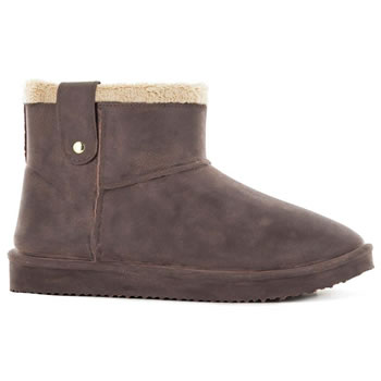 Image of Black Fox Cheyenne Sheepskin Style Ankle Boots - Brown - UK 3/4 EUR 36/37