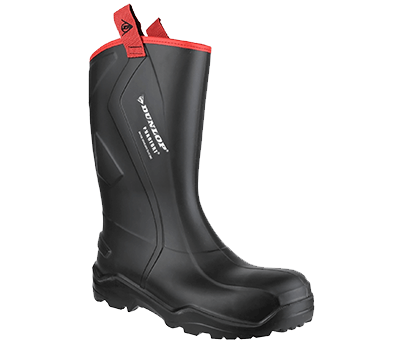 Image of Dunlop Purofort Rugged Full Safety Wellington Boot in Black