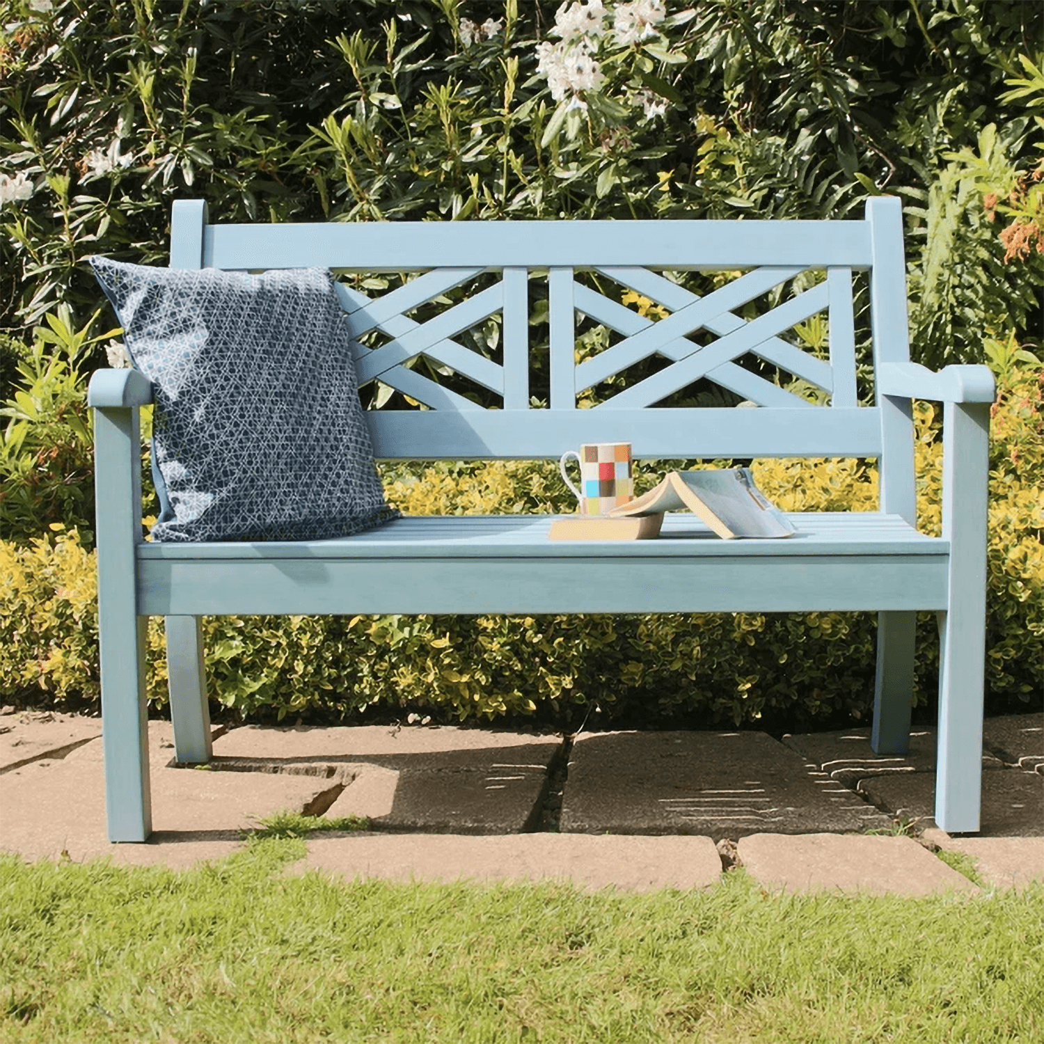 Picture of: Winawood Speyside 2 Seater Wood Effect Garden Bench In Blue 249 Garden4less Uk Shop