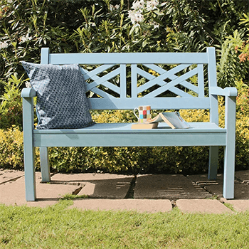 Image of Winawood Speyside 2 Seater Wood Effect Garden Bench in Blue