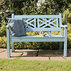 Small Image of Winawood Speyside 2 Seater Wood Effect Garden Bench in Blue