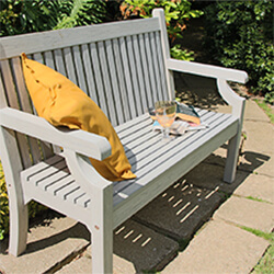 Small Image of Winawood Sandwick 3 Seater Wood Effect Garden Bench in Stone Grey