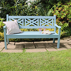 Extra image of Winawood Speyside 3 Seater Wood Effect Garden Bench in Powder Blue