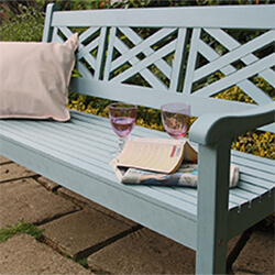 Small Image of Winawood Speyside 3 Seater Wood Effect Garden Bench in Powder Blue