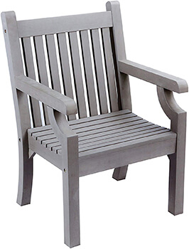 Image of Winawood Thin Slat Wood Effect Armchair - Stone Grey
