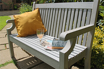 Image of Winawood Sandwick 2 Seater Wood Effect Garden Bench in Stone Grey