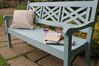 Image of Winawood Speyside 3 Seater Wood Effect Garden Bench in Powder Blue