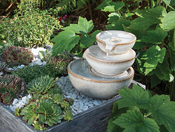 Image of Woodlodge Spey Mini White Saucer Stack Water Feature