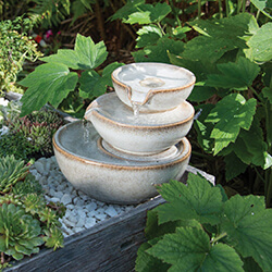 Small Image of Woodlodge Spey Mini White Saucer Stack Water Feature
