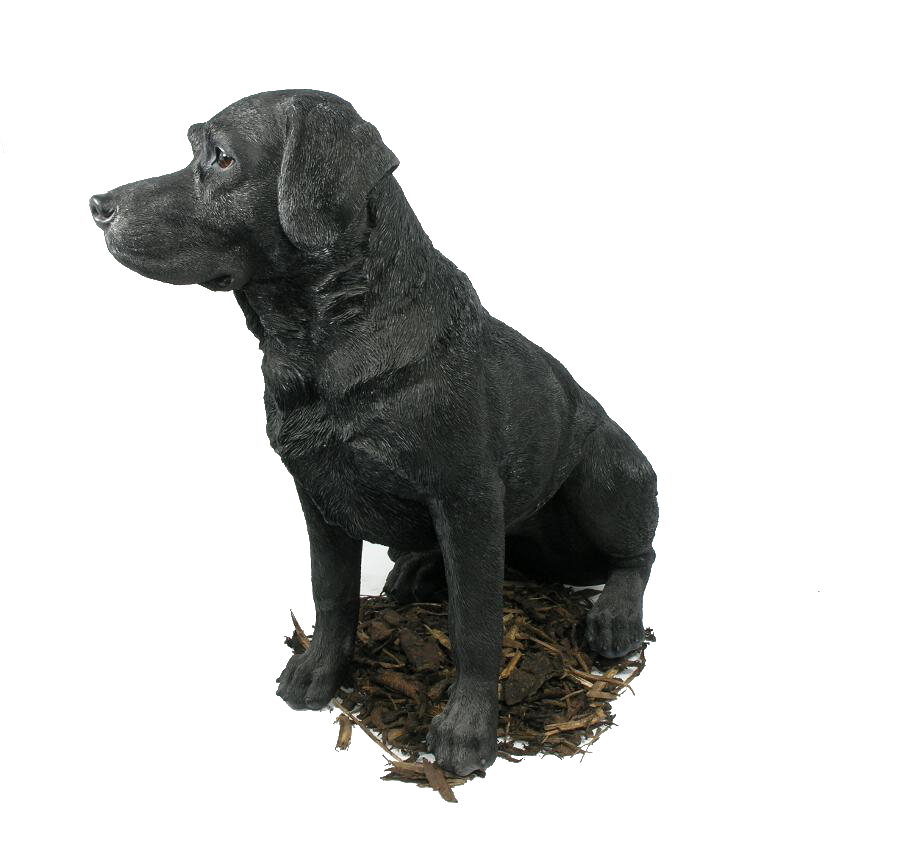 Black Labrador   Dog Resin Garden Ornament   Spin Image Drag To Spin