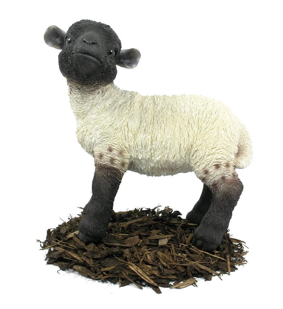 black and white lamb - resin garden ornament