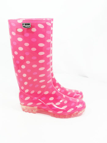 Briers Dotty Pink Wellies UK 5 - Spin Image