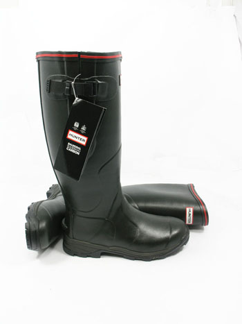 Hunter Balmoral Bamboo Carbon Wellies Olive - UK Size 3 - Spin Image