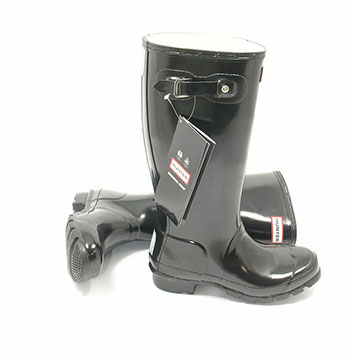 Original Gloss Black Kids Hunter Wellies - UK Size 10 / Euro 28 - Spin Image