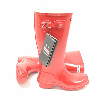 Original Gloss Military Red Kids Hunter Wellies - UK Size 1 / Euro 33 - Spin Image