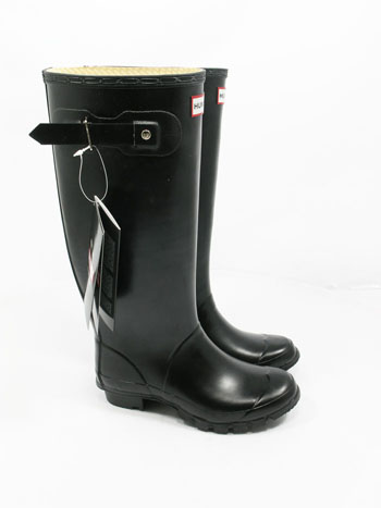 Wide Calf Black Huntress Wellies - UK Size 6 - Spin Image