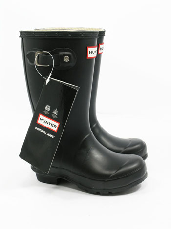 Kids Black Hunter Wellies - UK Size 12 - Spin Image
