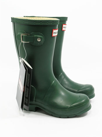 Kids Original Hunter Wellies - Green - Spin Image