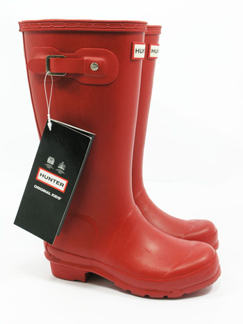 Kids Red Hunter Wellies - UK Size 9 - Spin Image