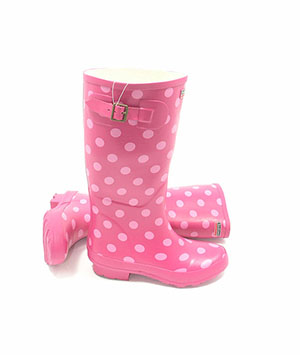 Town and Country Pink Spotty Wellies - UK Size 6 / Euro 39 - Spin Image