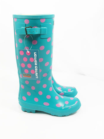 Town and Country Turquoise Spotty Wellies - Spin Image