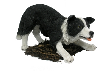 Border Collie - Sheepdog Resin Garden Ornament - Spin Image