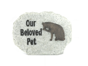 Our Beloved Pet - Cat Memorial Stone Plaque - Spin Image