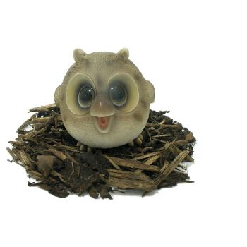 Cute and Playful Wise Baby Owl - Resin Garden Ornament - Spin Image