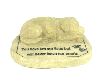 Sleeping Heart - Dog Memorial Statue Natural - Spin Image
