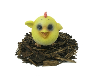Cute and Playful Chick - Resin Garden Ornament - Spin Image