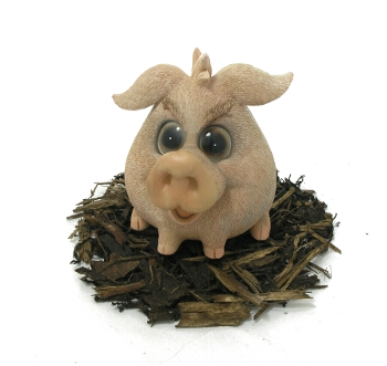 Cute and Playful Sitting Pig - Resin Garden Ornament - Spin Image