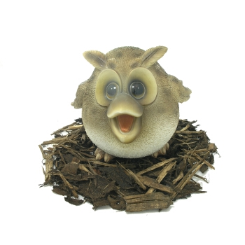 Cute and Playful Wise Owl Mother - Resin Garden Ornament - Spin Image